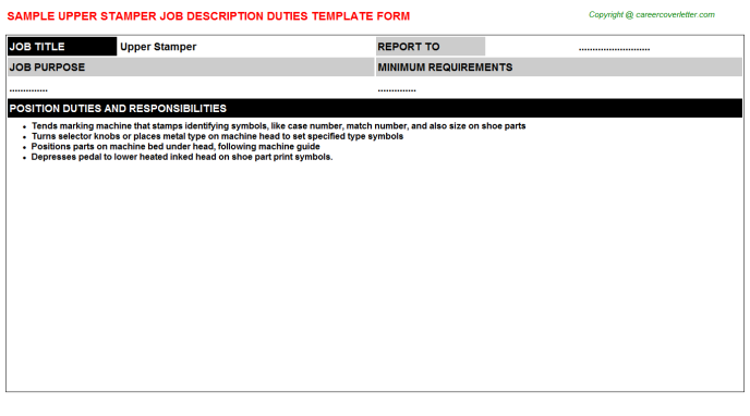 Upper Stamper Job Description Template