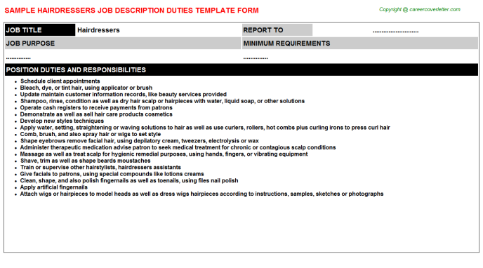 Hairdressers Job Description Template