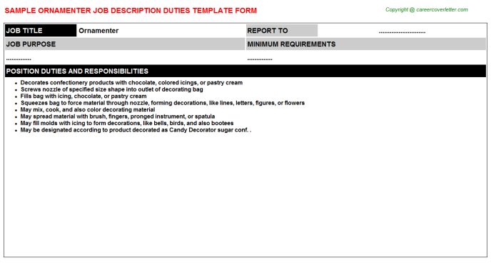 Ornamenter Job Description Template