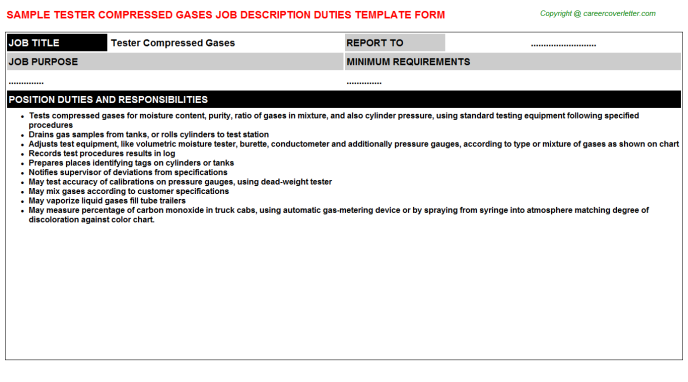 tester compressed gases job description template