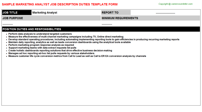 Marketing Analyst Job Description Template