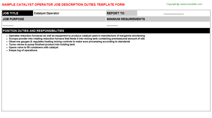 catalyst operator job description template