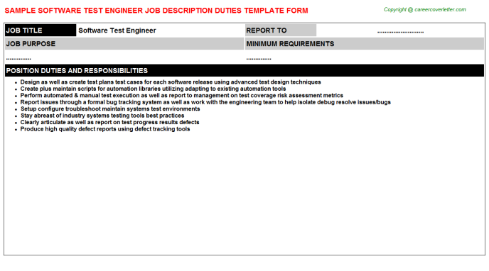 software test engineer job description template