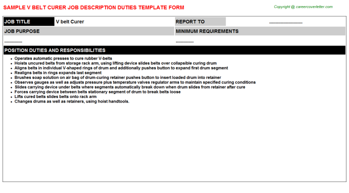v belt curer job description template