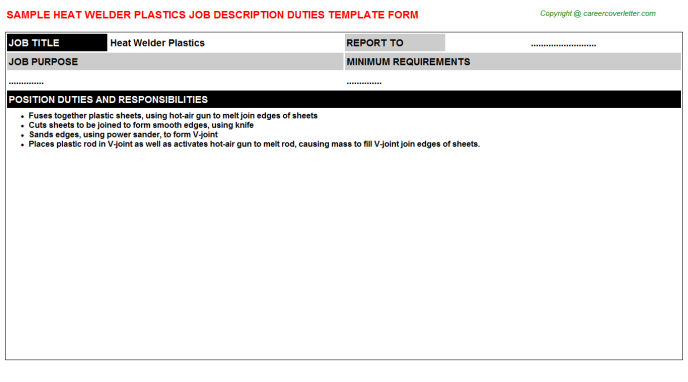 heat welder plastics job description template