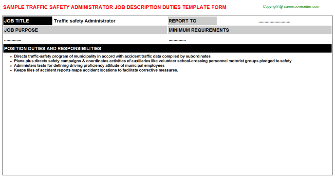 traffic safety administrator job description template