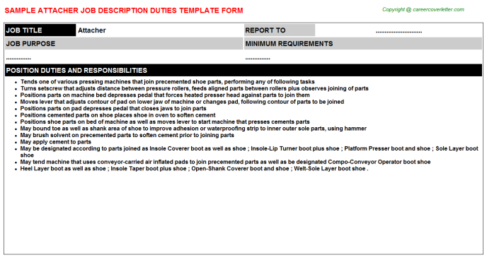 Attacher Job Description Template