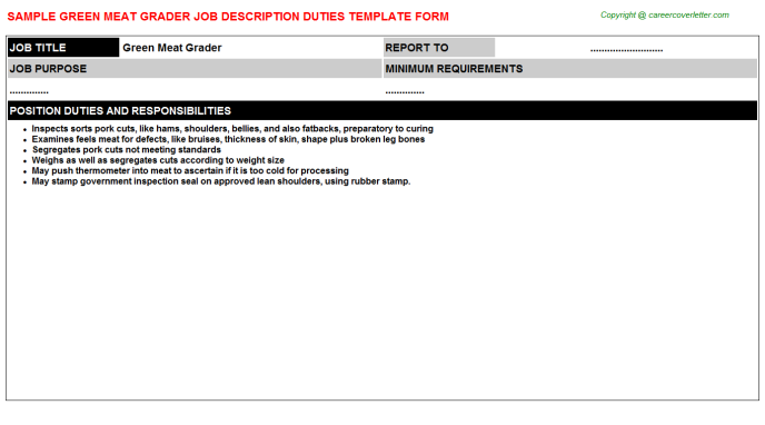 green meat grader job description template