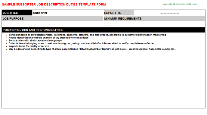 Subsorter Job Description Template