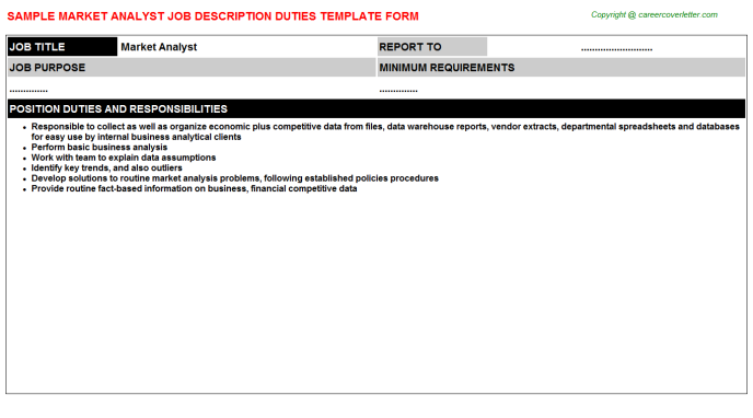 Market Analyst Job Description Template