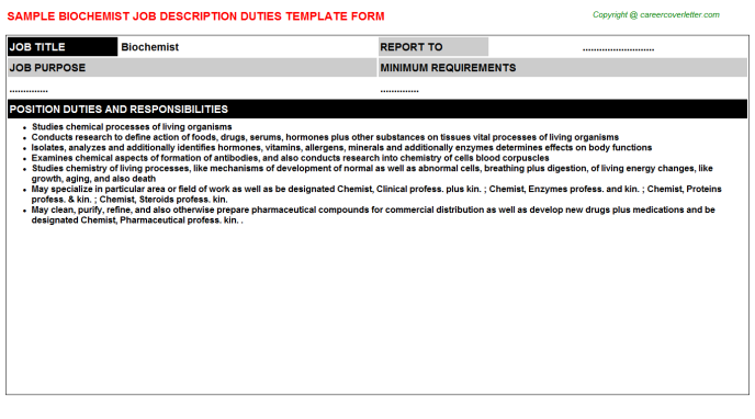 Biochemist Job Description Template