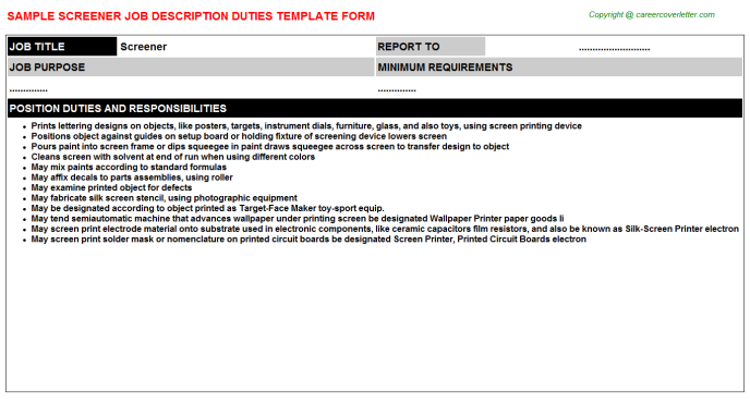 Screener Job Description Template
