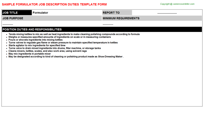 Formulator Job Description Template
