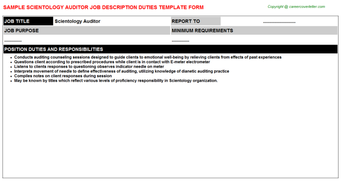 scientology auditor job description template