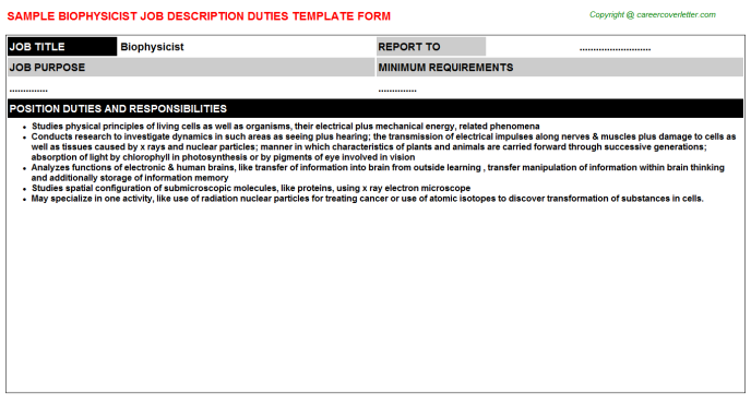 Biophysicist Job Description Template