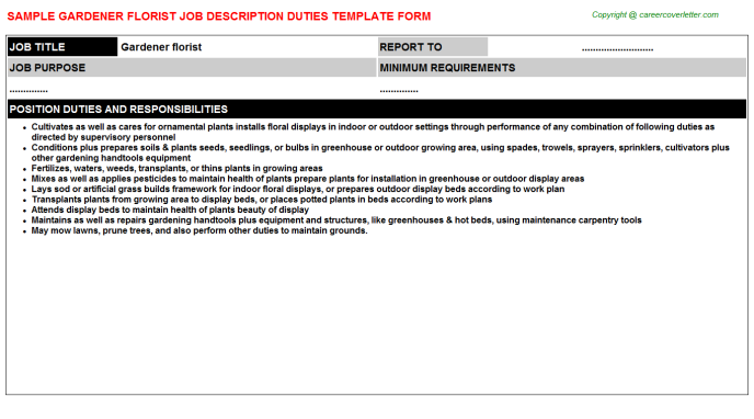 Florist Job Descriptions