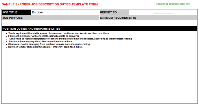 Enrober Job Description Template