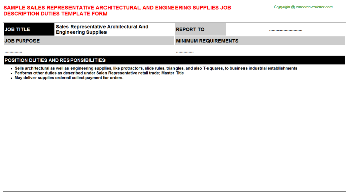 sales representative architectural and engineering supplies job description template