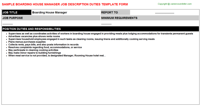 boarding house manager job description template