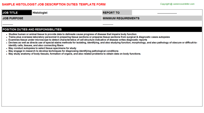Histologist Job Description Template
