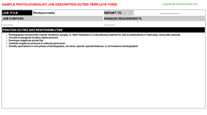 Photojournalist Job Description Template
