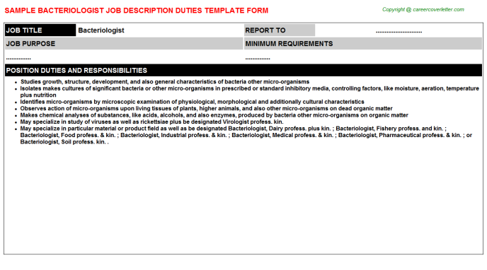 Bacteriologist Job Description Template