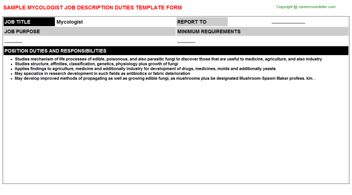 Mycologist Job Description Template