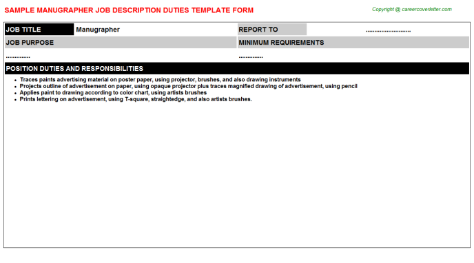 Manugrapher Job Description Template