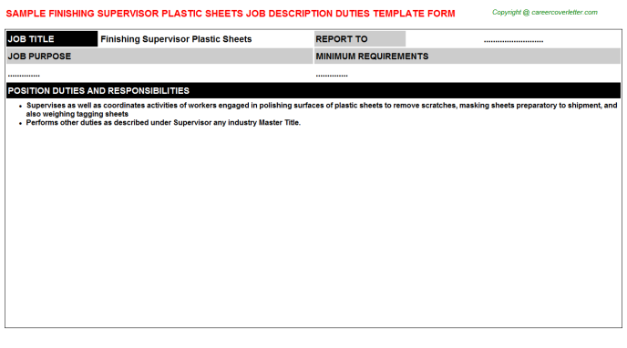 finishing supervisor plastic sheets job description template