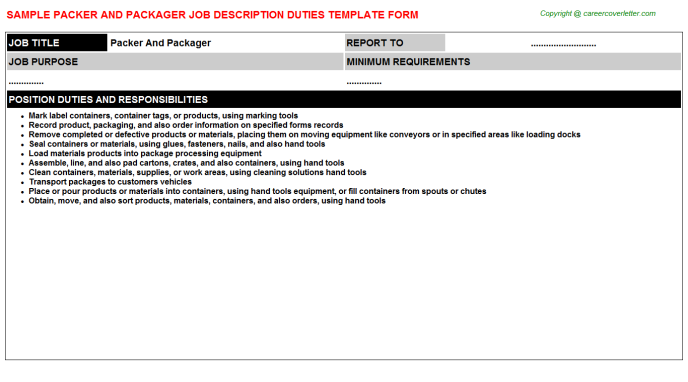 packer and packager job description template
