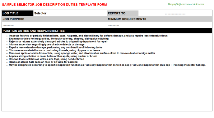 Selector Job Description Template