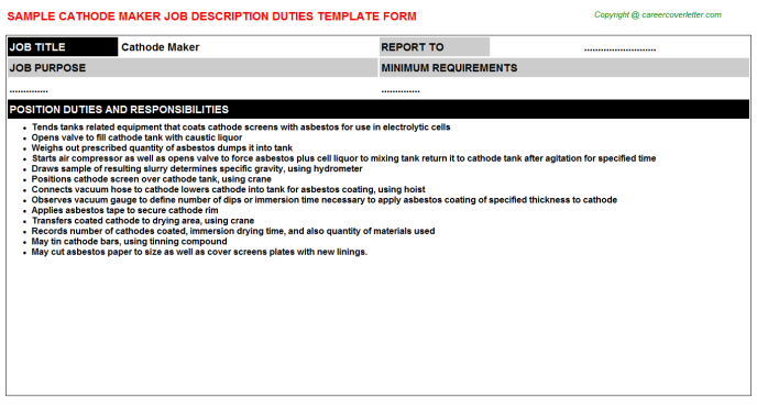 cathode maker job description template
