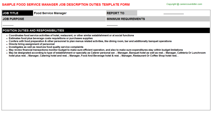 food service manager job descriptions