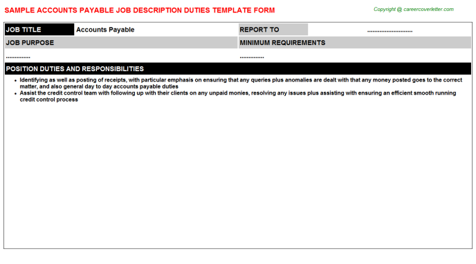 Accounts Payable Job Description Duties Template