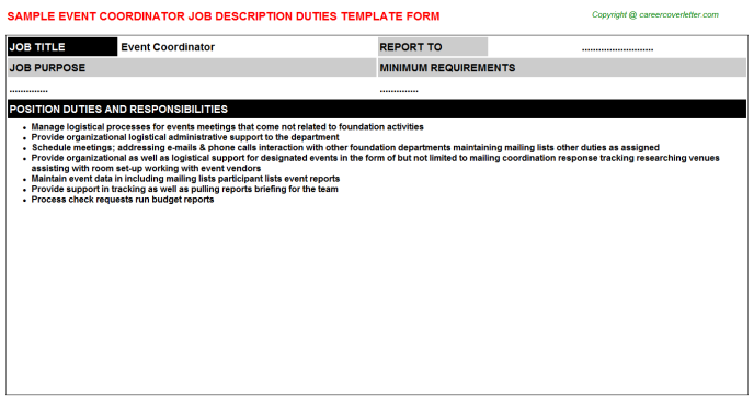 Event Coordinator Job Description Template