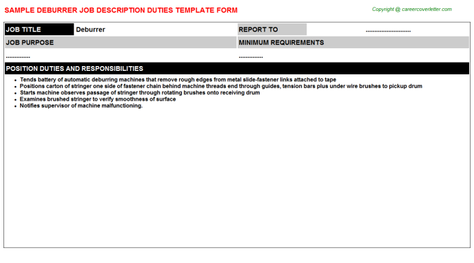 Deburrer Job Description Template