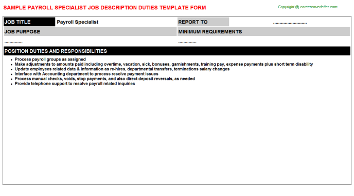 Payroll Specialist Job Description Template