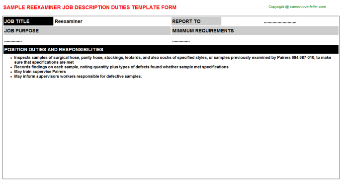 Reexaminer Job Description Template