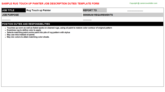 rug touch up painter job description template