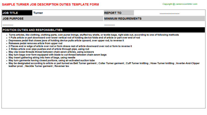 Turner Job Description Template