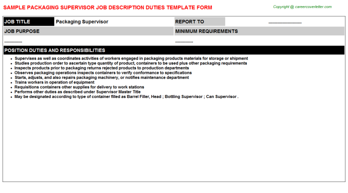 packaging supervisor job description template