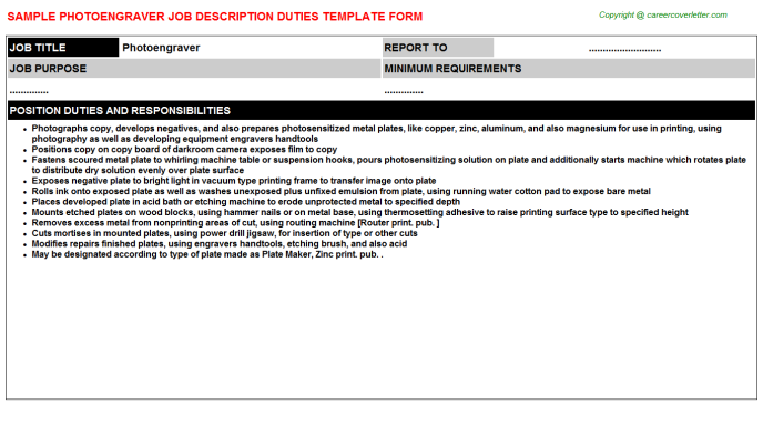 Photoengraver Job Description Template