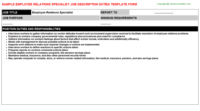 Employee Relations Specialist Job Description