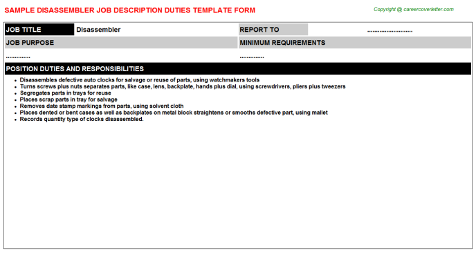 Disassembler Job Description Template