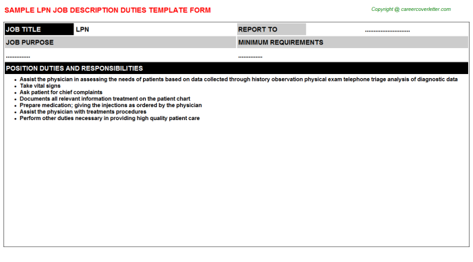 LPN Job Description Template