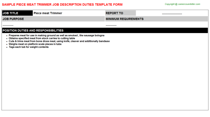 piece meat trimmer job description template
