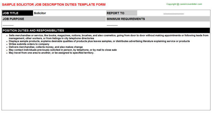Solicitor Job Description Template