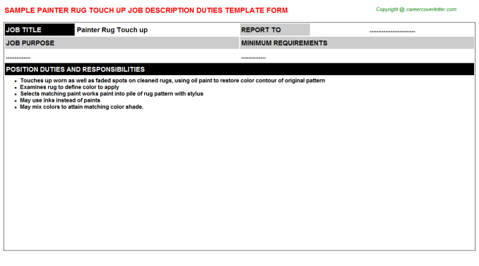 painter rug touch up job description template