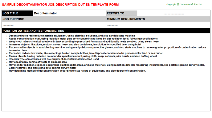 Decontaminator Job Description Template