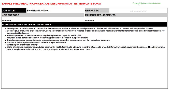 Field health officer career job description (#2239)